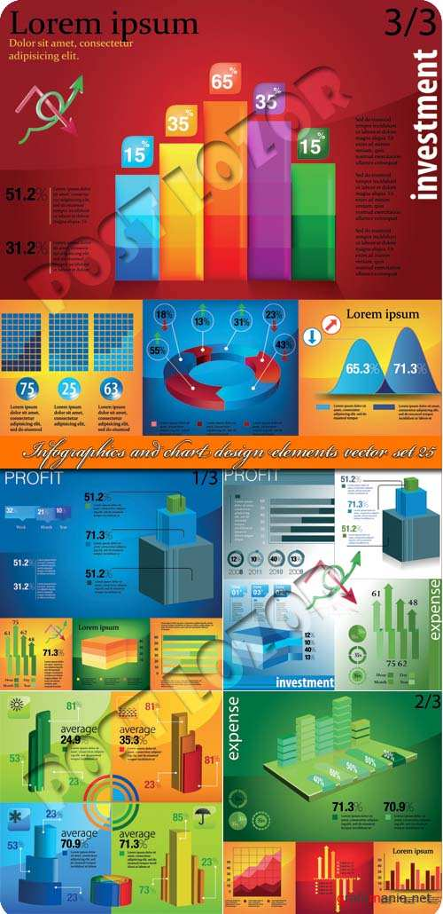 Инфографики и диаграммы часть 25 | Infographics and chart design elements vector set 25