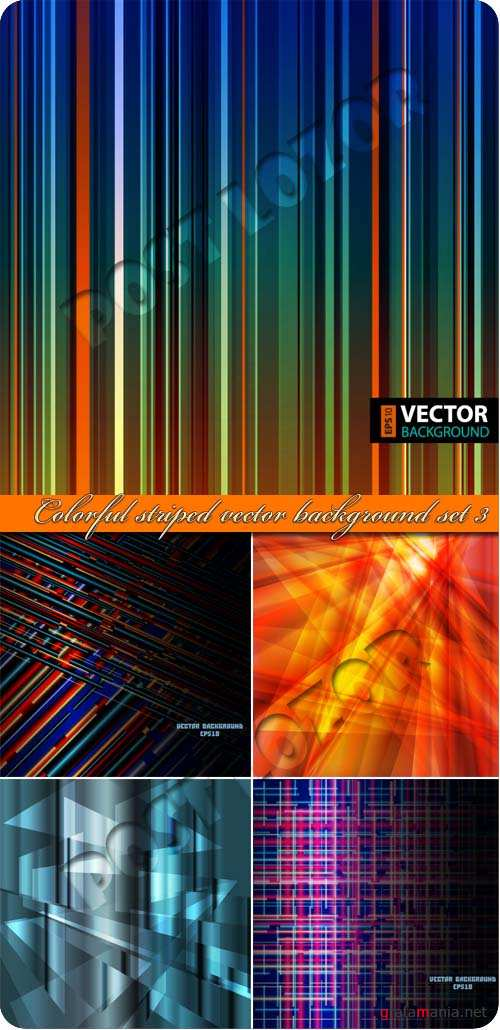 Разноцветные полоски часть 3 | Colorful striped vector background set 3