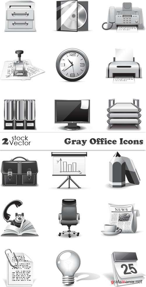 Vectors - Gray Office Icons