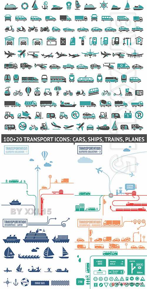 Transportation icons and infographics