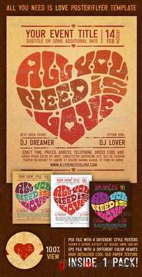 GraphicRiver - All You Need Is Love Vintage Poster/Flyer Template - 0154569