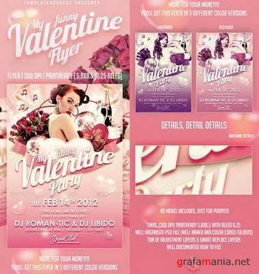 GraphicRiver - My Funny Valentine Flyer | 3 Colors Versions - 1366180