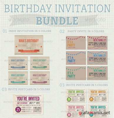 GraphicRiver - Birthday Invitation Bundle - 654460
