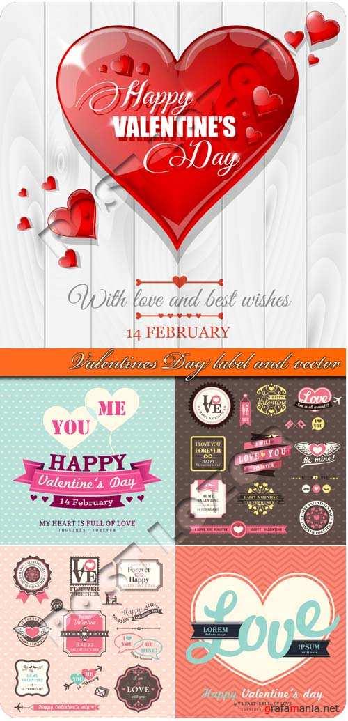 День валентина наклейки и фоны | Valentines Day label and vector background