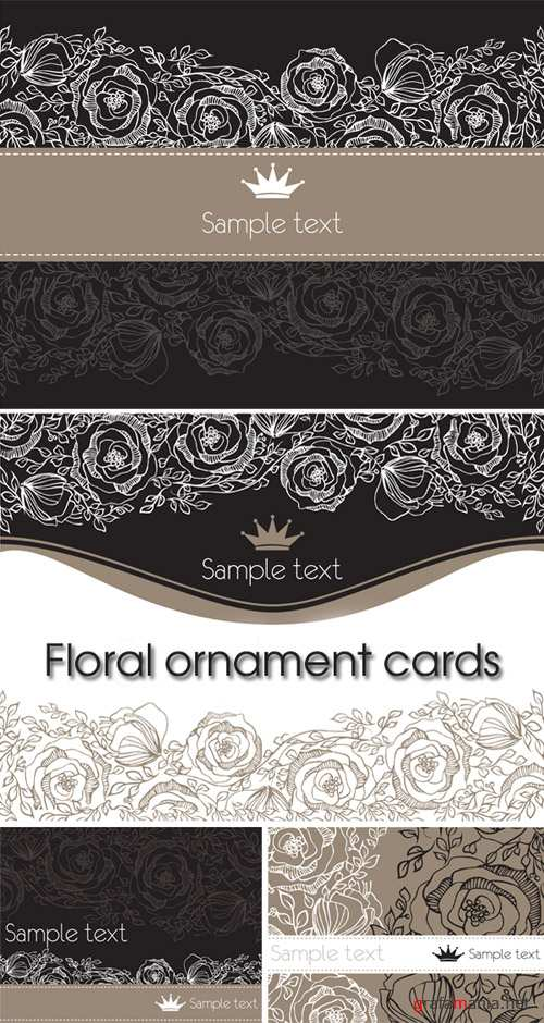 Floral ornament cards - backgrounds