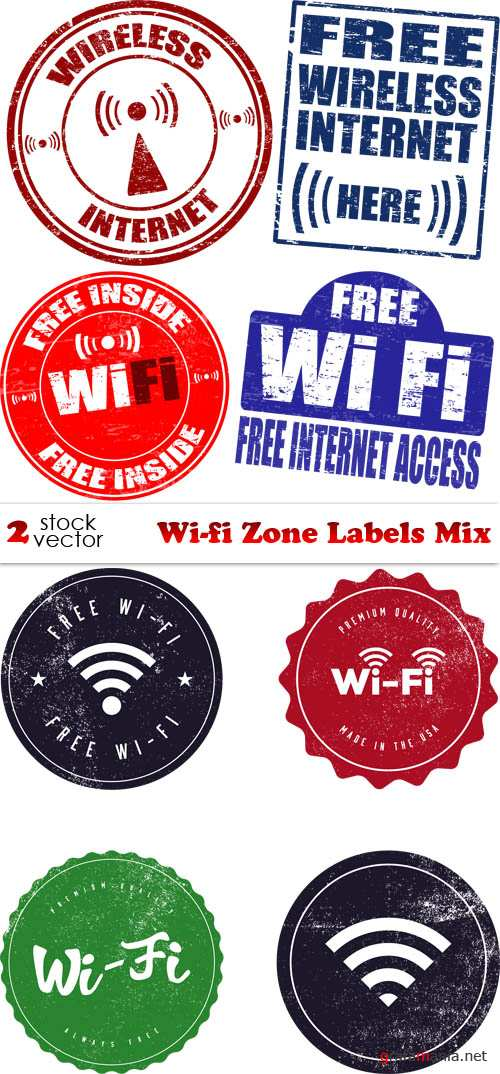 Vectors - Wi-fi Zone Labels Mix