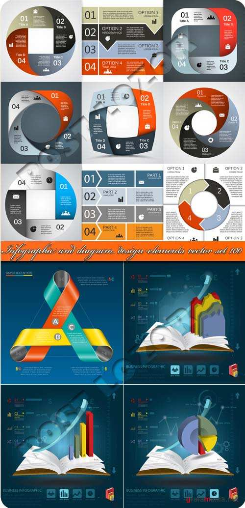 Инфографики и диаграммы часть 100 | Infographic and diagram design elements vector set 100