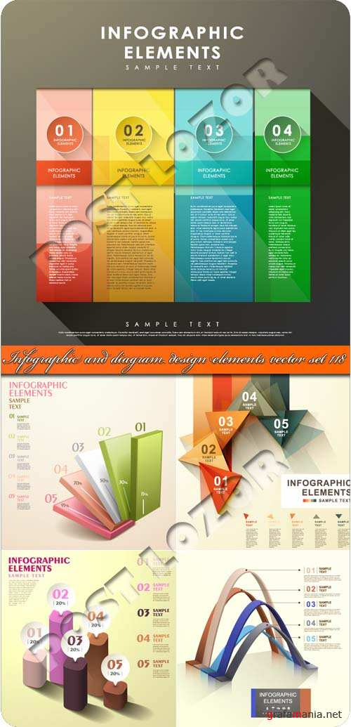 Инфографики и диаграммы часть 118 | Infographic and diagram design elements vector set 118