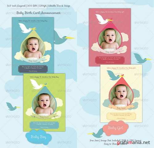 GraphicRiver - Baby Birth Announcement Card - 6899658
