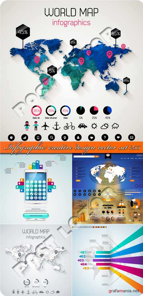 Инфографики креативный дизайн 255 | Infographic creative design vector set 255