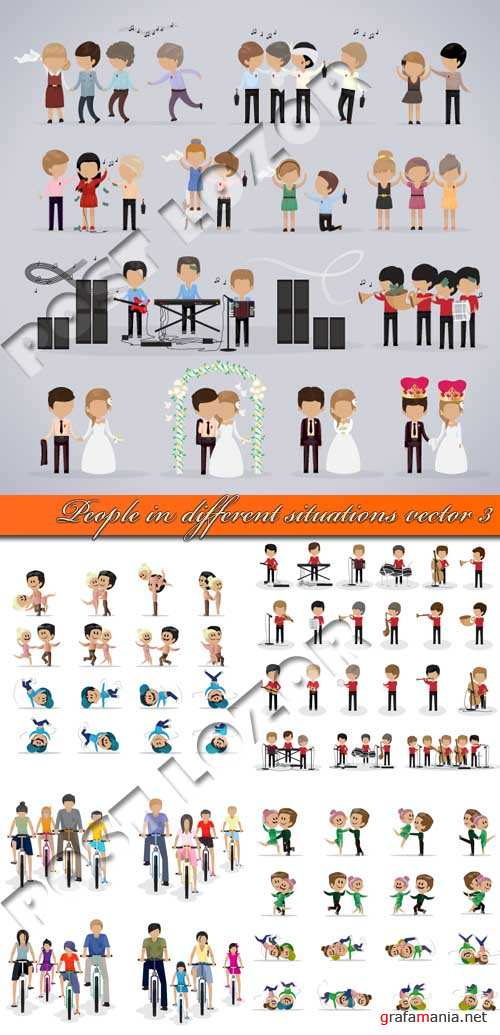 Люди в разных ситуациях 3 | People in different situations vector 3
