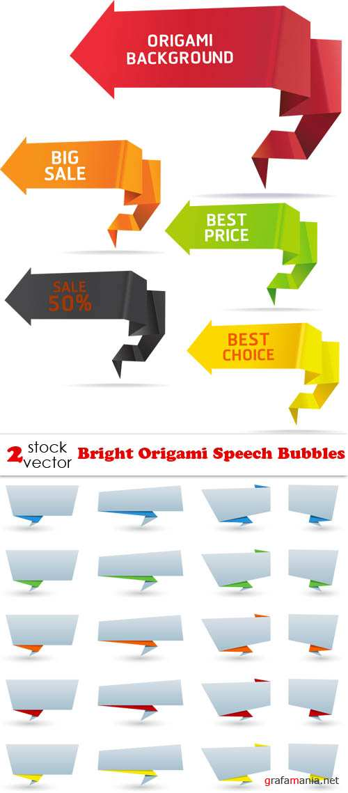 Vectors - Bright Origami Speech Bubbles
