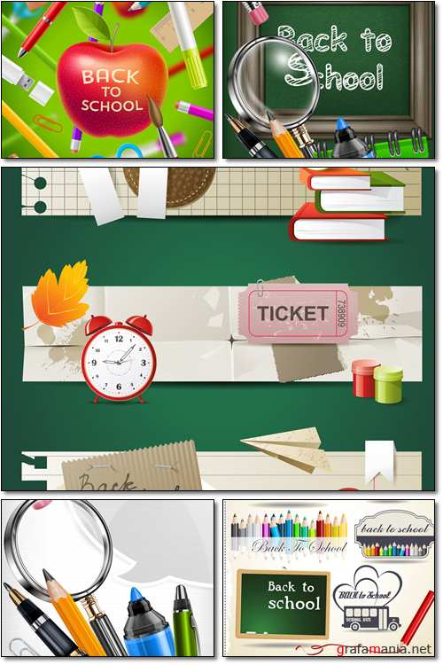 School blackboard and stationery - Vector