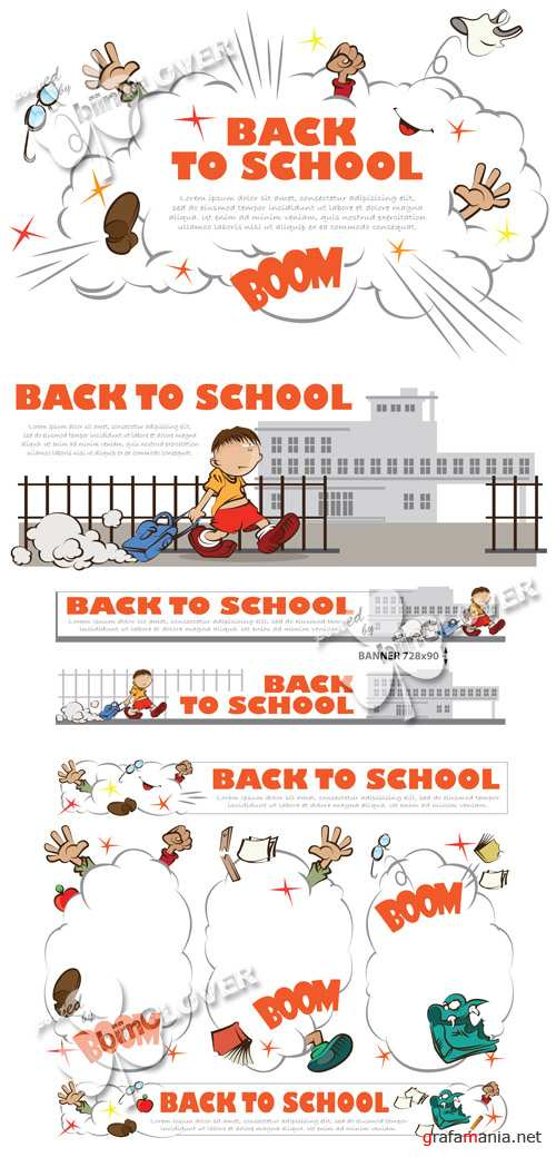 Back to school funny illustrations