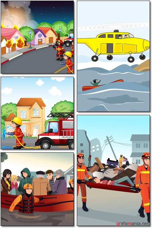 Rescue team helping people - Vectors