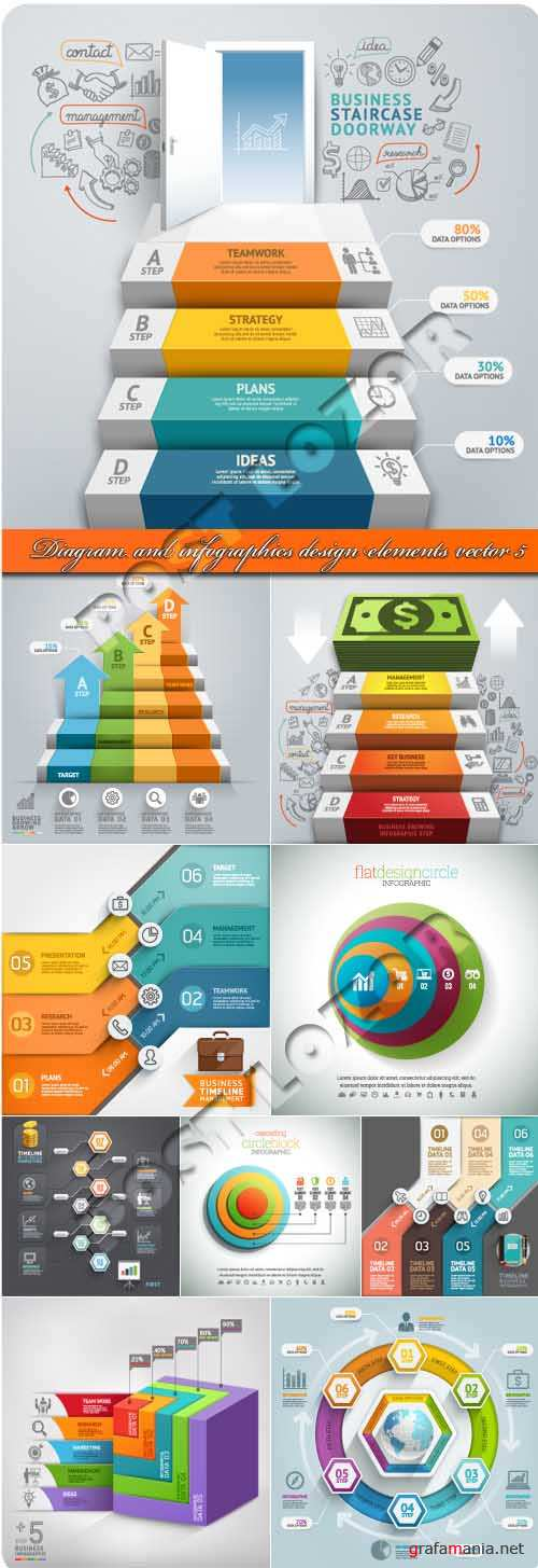 Диаграммы и инфографики 5 | Diagram and infographics design elements vector 5