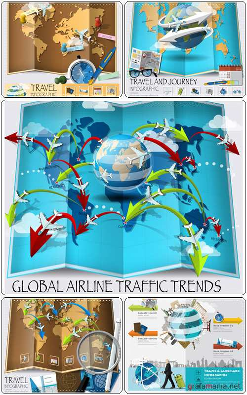 World Map Of Global Airline Traffic Trends Infographic - Vector