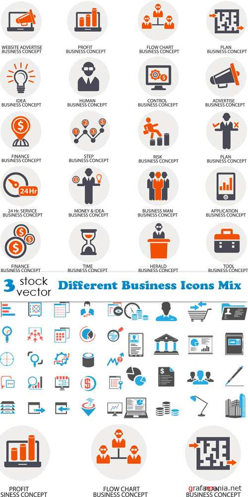 Vectors - Different Business Icons Mix