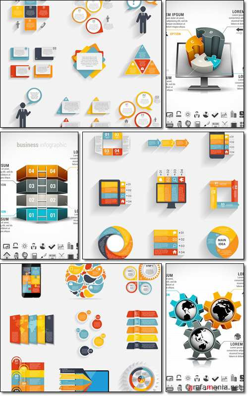 Collection of Infographic Templates for Business - Vector