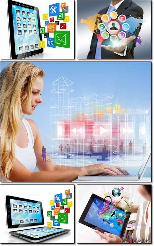 Business multimedia concept. Image of computer technology - Stock photo