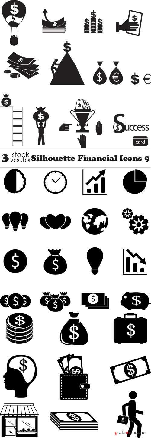 Vectors - Silhouette Financial Icons 9