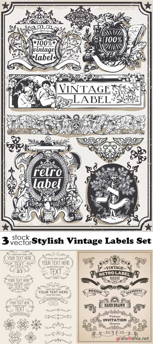 Vectors - Stylish Vintage Labels Set