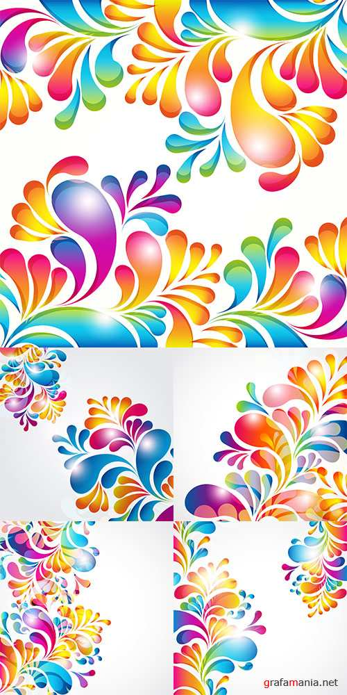 Abstract background with bright teardrop-shaped arches