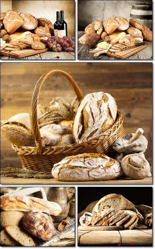 Fresh and tasty home-made bread and delicious sparkling wine - Stock photo
