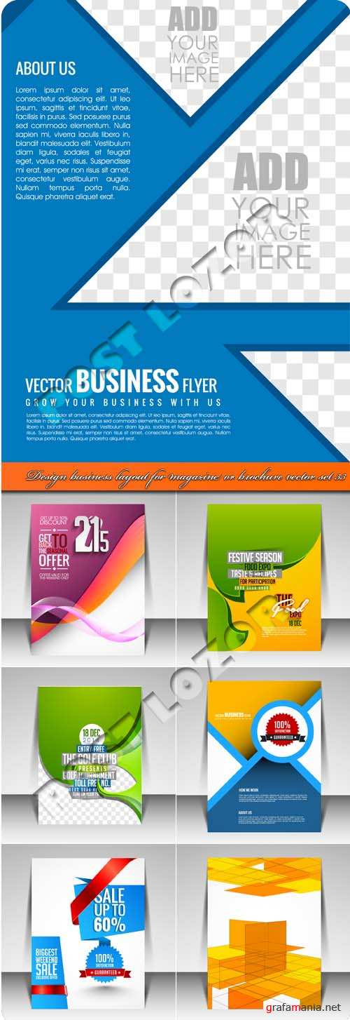 Design business layout for magazine or brochure vector set 33