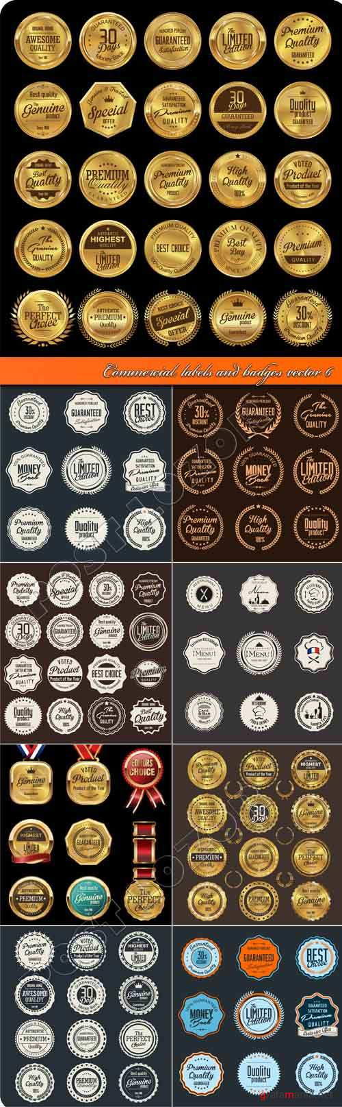Commercial labels and badges vector 6