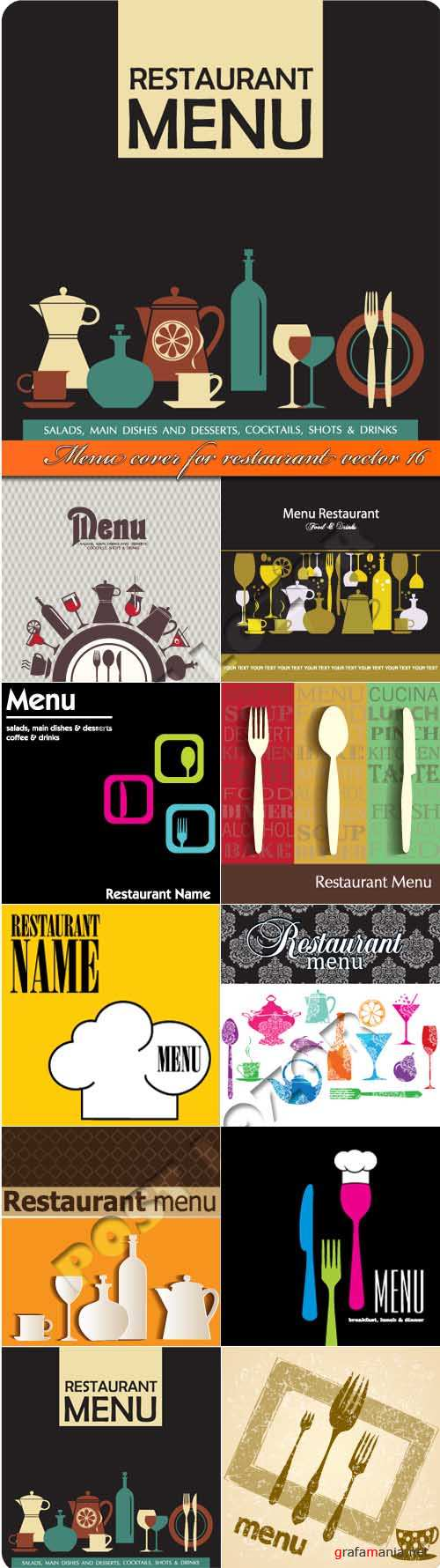 Menu cover for restaurant vector 16