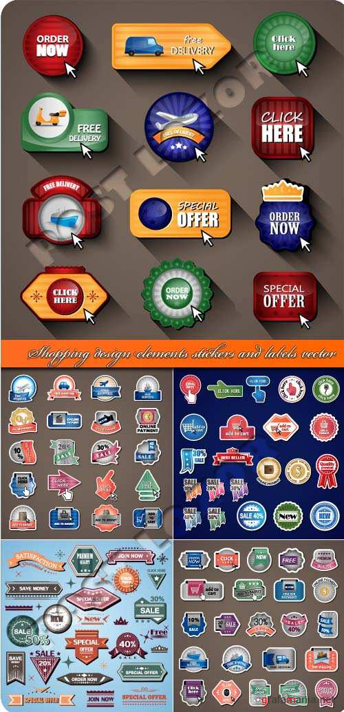 Shopping design elements stickers and labels vector