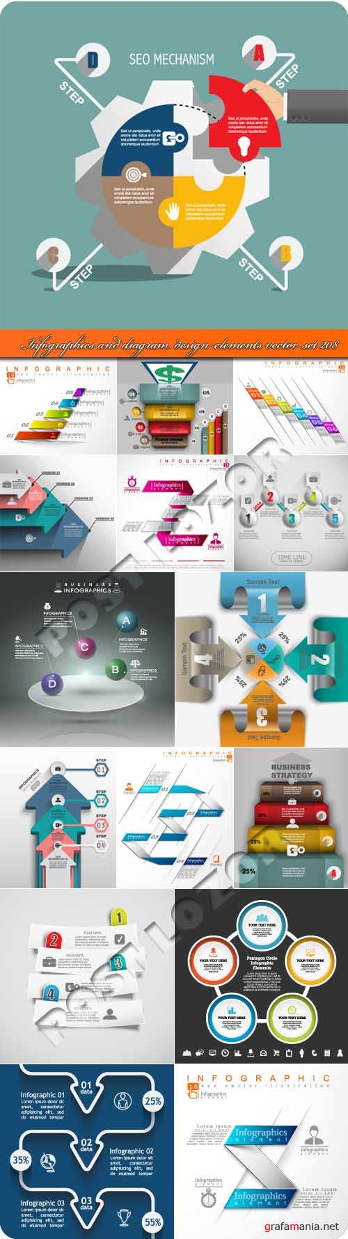 Infographics and diagram design elements vector set 208