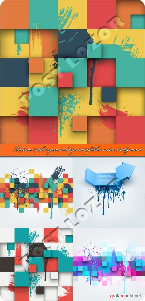 Texture with squares and paint splashes vector background