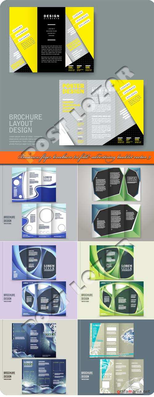 Business flyer brochure tri fold advertising booklet vector 9