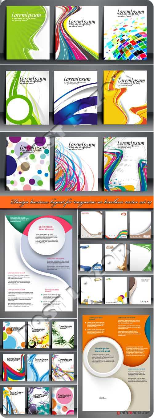 Design business layout for magazine or brochure vector set 34
