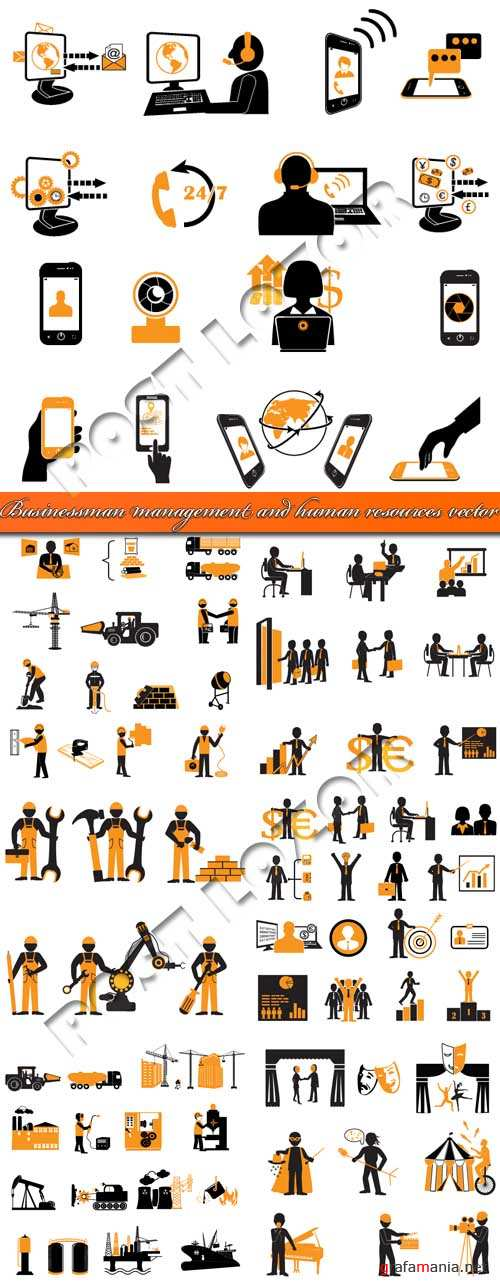 Businessman management and human resources vector