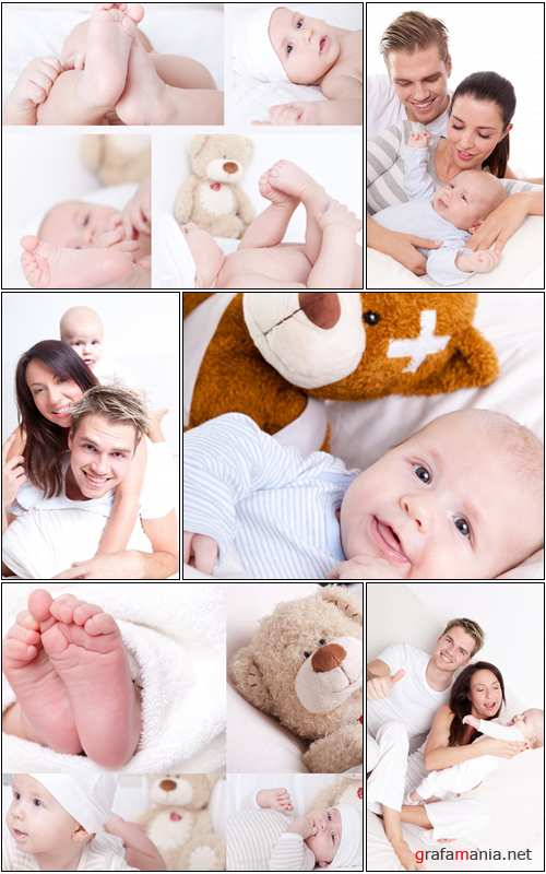 Happy family with a baby at home - Stock photo