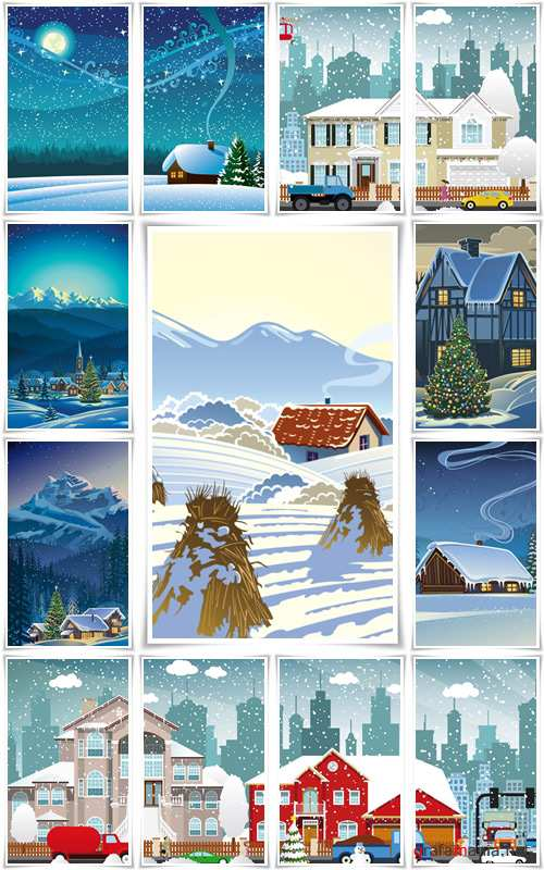 Winter rural holiday landscape. Christmas - Vector