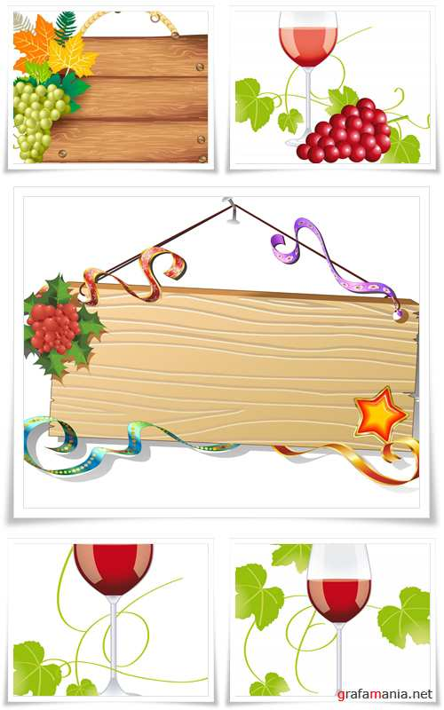 Wine. A glass of honey wine, bunch of grapes and vine leaves - Vector