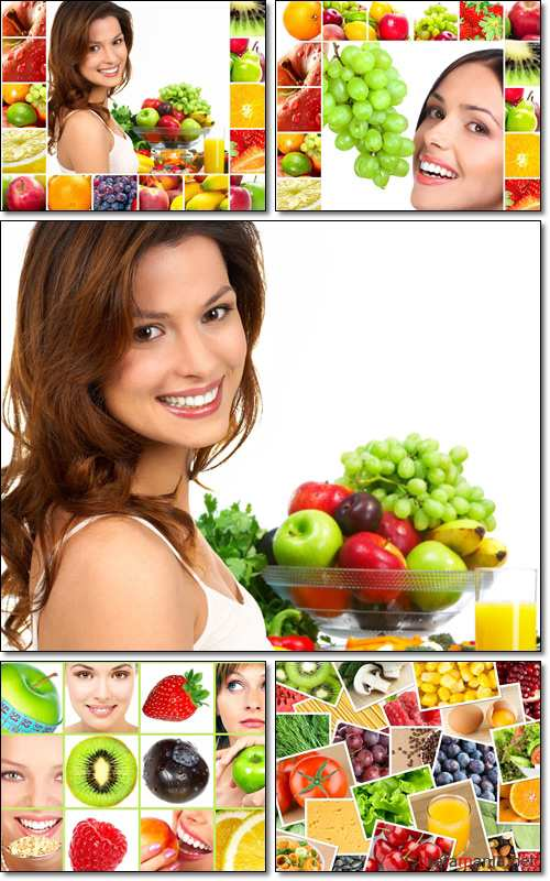 Happy woman and fruits - Stock photo