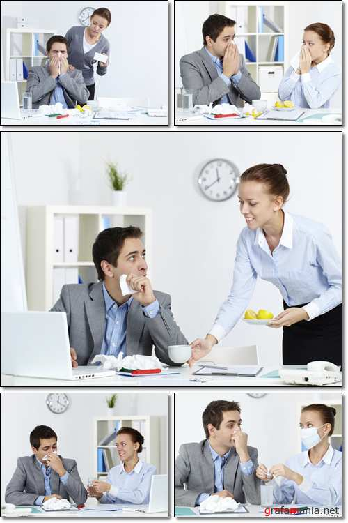 Cold business peoples work and take drugs at work - Stock photo