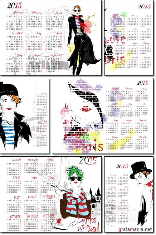 Calendar 2015 with fashion girl - Vector