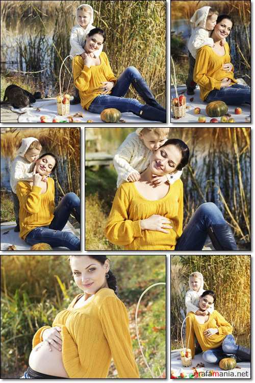 Happy young mother with her son in the autumn outing, picnic - Stock photo