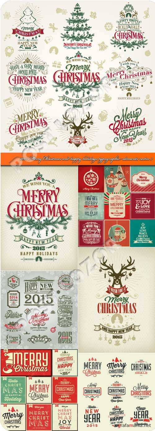 2015 Merry Christmas and happy holidays typographic elements vector 7