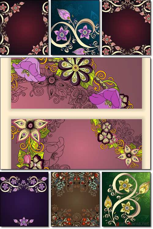 Decorative floral background with flowers - Vector