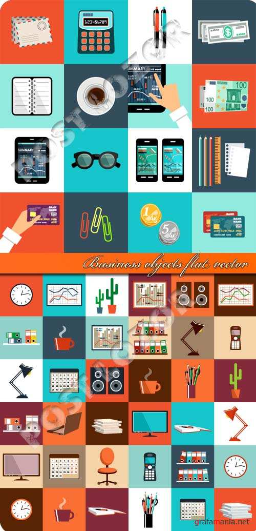 Business objects flat vector