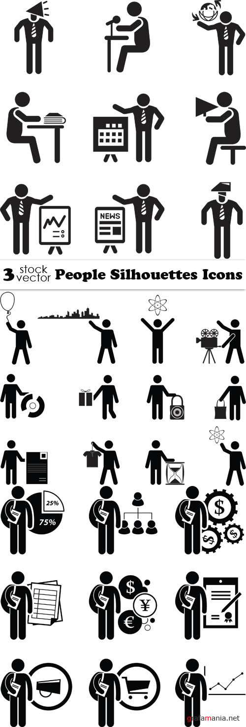 Vectors - People Silhouettes Icons