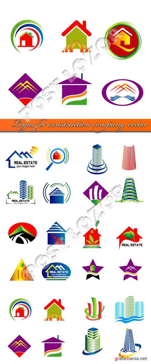 Logos for construction company vector