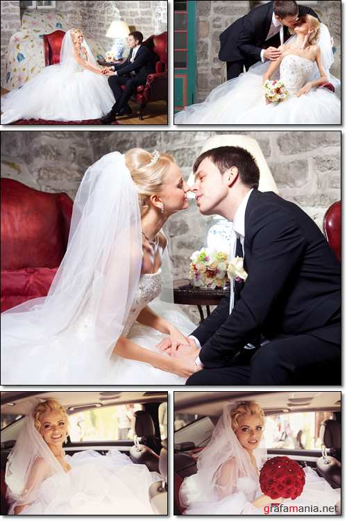 Beautiful groom and bride kissing in old interior and car - Stock photo